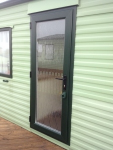 static caravan door in green