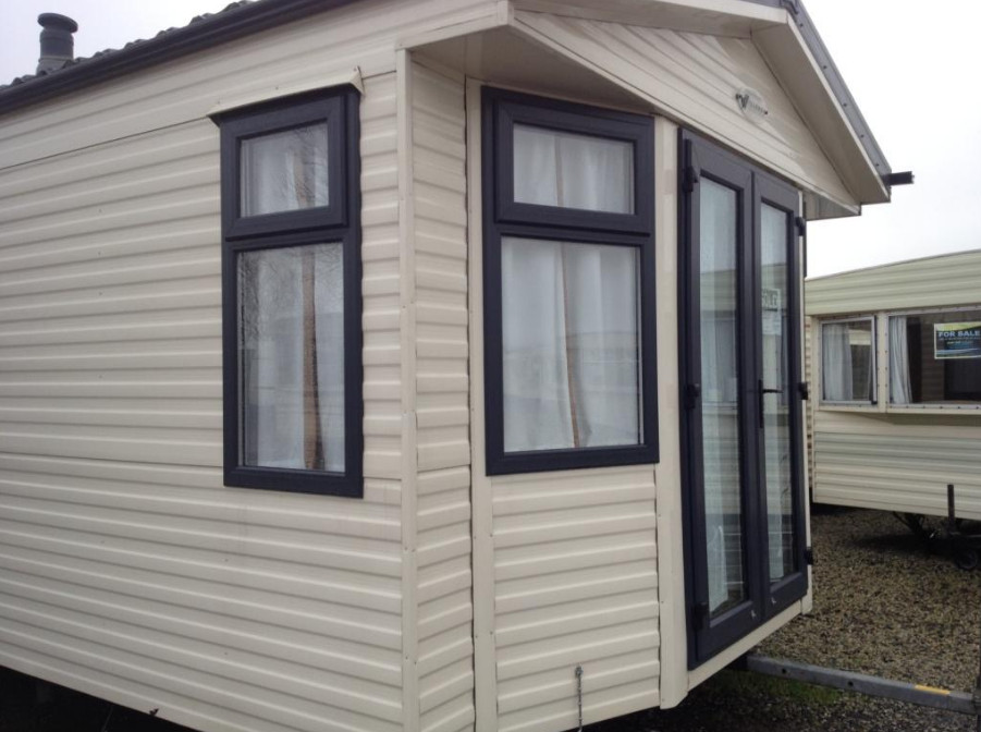 Static caravan double glazing windows and doors in Grey