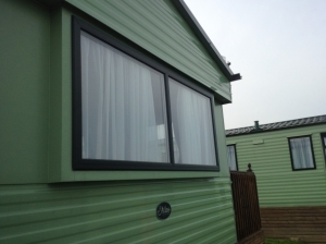 static caravan double glazing windows in green