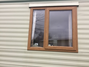 Irish Oak Effect Double Glazing Static Caravan