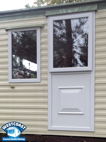 static caravan door converted into a window