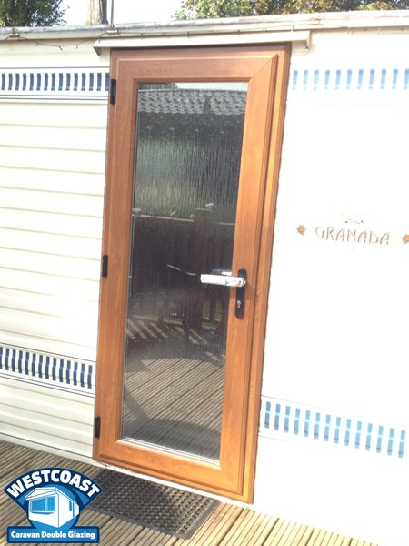 static caravan double glazed door in light oak