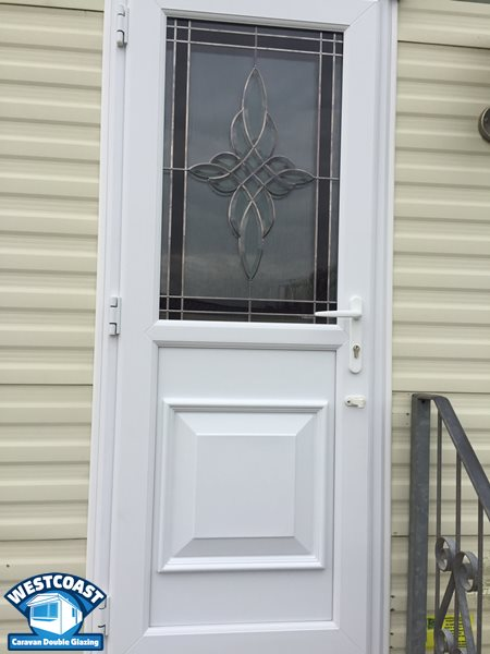 leaded glass static caravan door with full panel