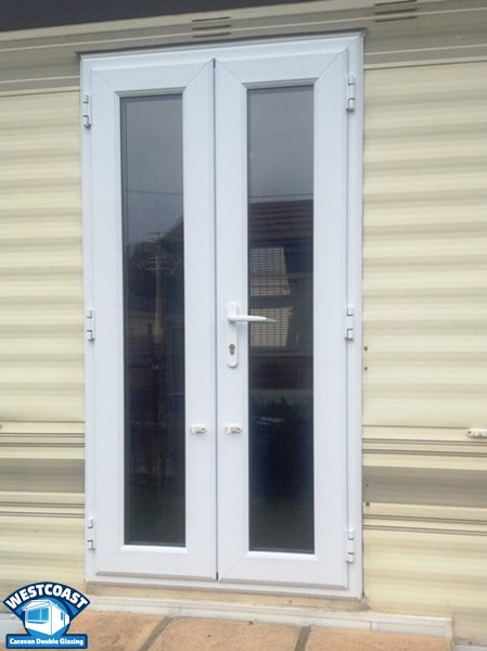 static caravan double glazed french doors